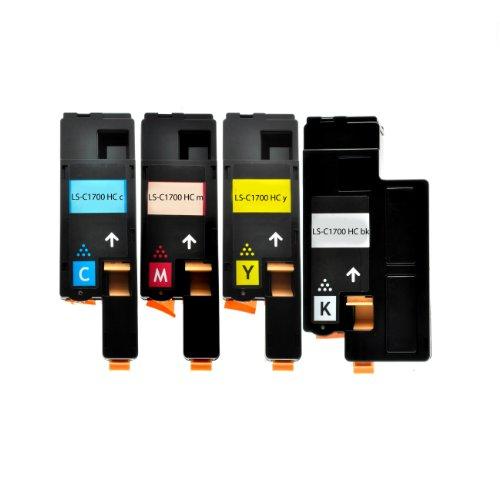 4 Toner für Epson C1700 1-1-1-1 – BK, 2000 Seiten,Color je 1400 Seiten ,kompatibel