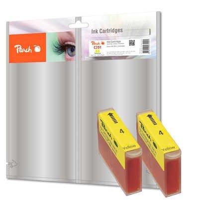 Peach C513/C511 y Doppelpack Tintenpatronen, kompatibel zu Canon, Xerox, Apple BJI-201 y, gelb
