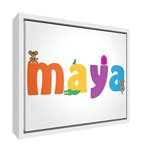 Little Helper Feel Good Art Girl Nombre de enmarcado lienzo con caja madera Surround en diseño de Ilustrativos 34x 24x 3cm, tamaño pequeño color rosa