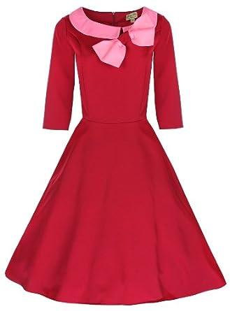 Lindy Bop 'Cassy' : Vintage 1950's Chic Robe (36, Rouge (pas de points))