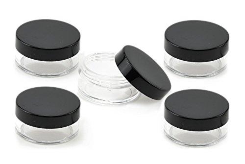 FiveSeasonStuff 5 Pcs 10ml Transparente Cosmétiques Pot pour la Crème avec Couvercle Noir