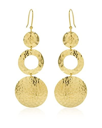 Etrusca Pendientes Hammered Disc Drop Dorado