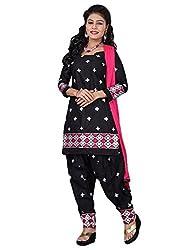 Lakshmi Fashion Creation Women's Cotton Dress Material ( Black )