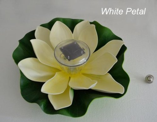 Sunnytech® Solar Color-changing Leds Lotus Flower Lamp Floating Pond Light Garden Yard Pool (white)