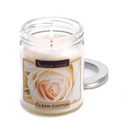 Clean Crisp Cotton Scented Glass Jar Soy Blend Candle