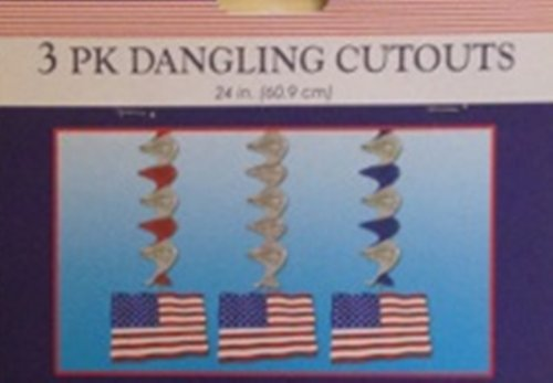 Pack of 3 Patriotic Dangling Cutouts ~ set of 2 - 1