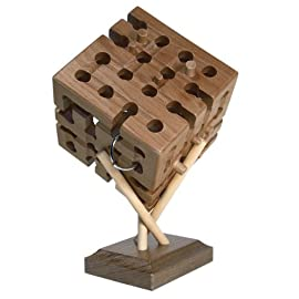 Wooden Labyrinth 4D Cube, IQ Collection Puzzle