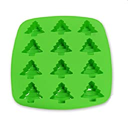 Kitchen Haven Silicone Christmas Candy Molds and Ice Cube Tray Tree Shaped, 12-cavity, Green