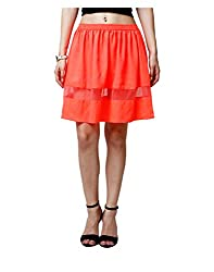 Yepme Arianny Sheer Mini Skirt - Orange -- YPMSKRT5085_L