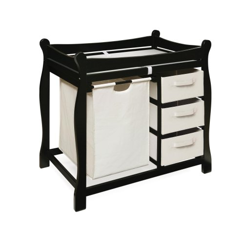 Badger Basket Company Sleigh Style Changing Table with Hamper/3 Baskets in Black