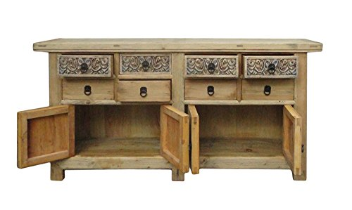 Chinese Vintage Natural Finish Carving Sideboard Buffet Cabinet Acs1147 4