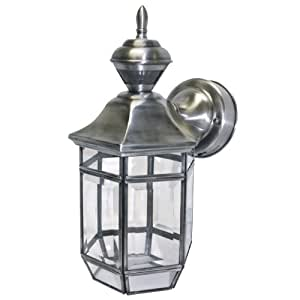 Heath Zenith Motion Activated Lantern Lexington 13.5 In. Silver Finish,Solid Brs