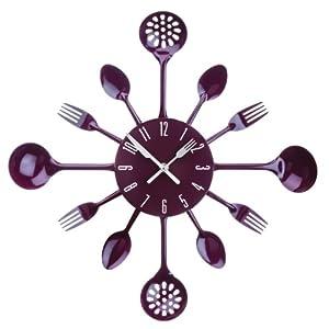Premier Housewares 2200668 Orologio da Parete Posate, Metallo, Viola   recensioni dei clienti