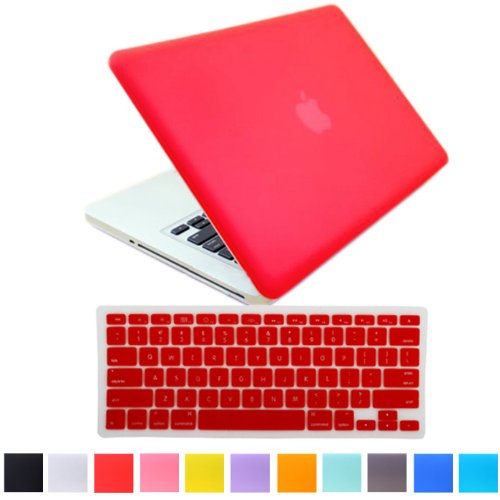 """HDE Matte Hard Shell Clip Snap-on Case + Matching Keyboard Skin for MacBook Pro 13"""" (Non-Retina) - Fits Model A1278 (Red)"""