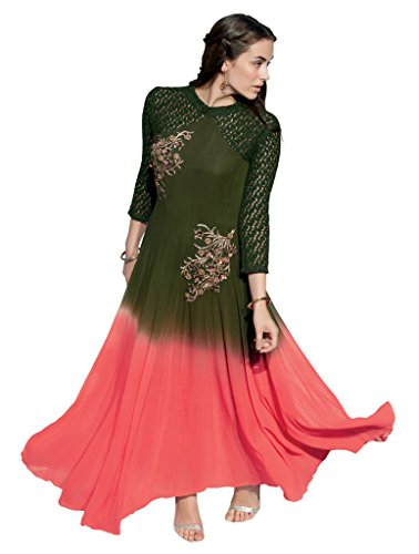 Heart & Soul Designer Wedding & Party Wear Fully Stitched Embroidery Designer Salwar Suits Dupatta XL size for women(Green)