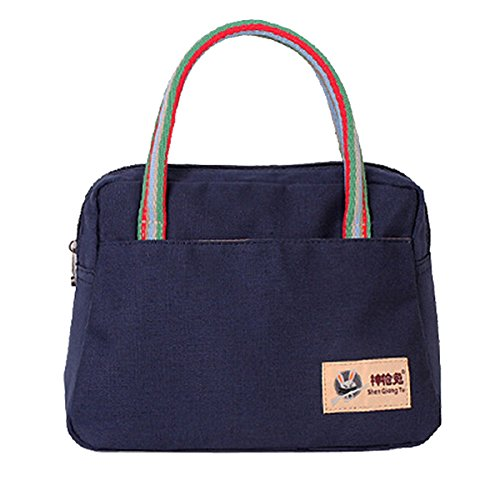 Aubig Casual Canvas Womens Lunch Bag Tote Insulated Travel Zipper Organizer Box - Blue - 1