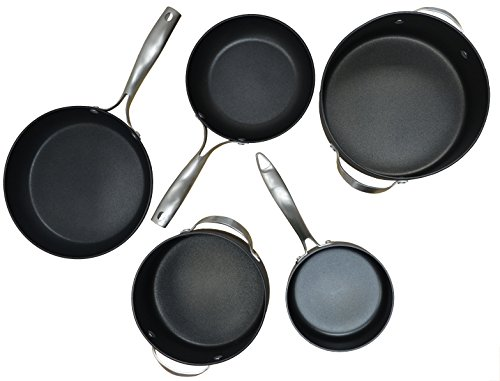 IMUSA USA 5850001513 8-Piece Hard Anodized Cookware Set, Silver/Black