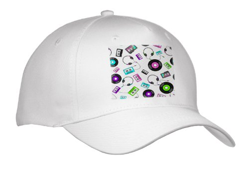 Janna Salak Designs Music - Antiquated Audio - Retro Records Tapes And Headphones Print - Caps - Adult Baseball Cap