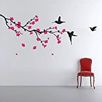 StickersKart Wall Stickers Hummingbirds and Blossoms (Wall Covering Area: 140cm x 90cm)