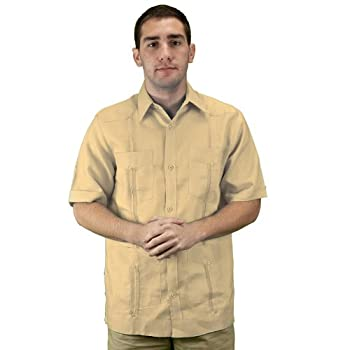 Mens guayabera shirt, natural, short sleeve.