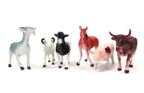 Animal World Toy Farm Animals Figures, Large Size 6 piece Assorted Styles, Sheep, Horse, Goat, Cow, Buffalo and Pig