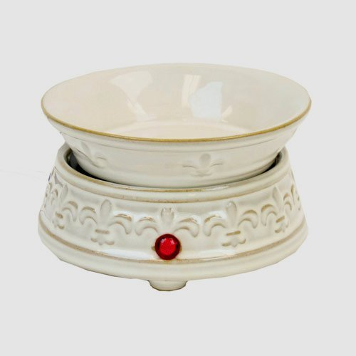 Fleur de Lis White Ceramic 2 in 1 Electric Candle Warmer (Electric Ceramic Burner compare prices)