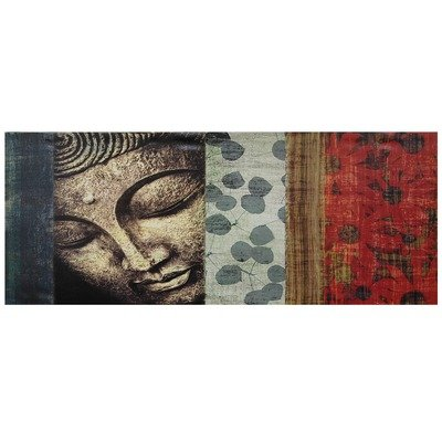 Oriental Furniture Contemporary Buddhist Collage, 39-Inch Peaking Buddha Statue Canvas Wall Art Photo Print
