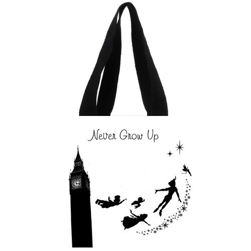Never Grow Up Flying Angle Big Ben White Classic Personalized Custom Cotton Tote Bag