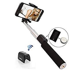 BlueInk New Original REMAX P4 Bluetooth Selfie Sticks with Detachable Bluetooth Remote Shutter Extendable Titanium Metal Body for iPhone, Samsung & All Android devices (Silver)