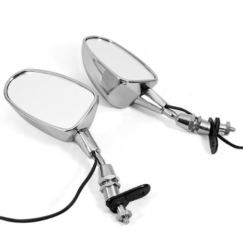 Motorcycle Chrome Oval led Rear View Mirror For 6mm Thread Universal