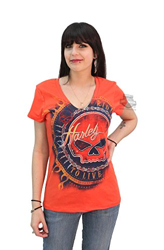 Harley-Davidson Womens Custom Heart Willie G Skull Reflective Orange Short Sleeve T-Shirt - LG