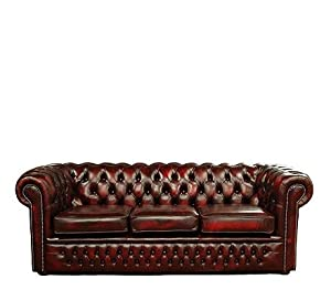 Chesterfield Leather 3 Seater Sofa Oxblood
