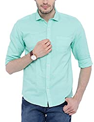 Bandit LT Green Slim fit Linen Solid Shirts