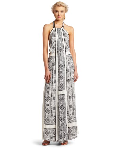 BCBGMAXAZRIA Women's Arlenis Printed Halter Evening Gown