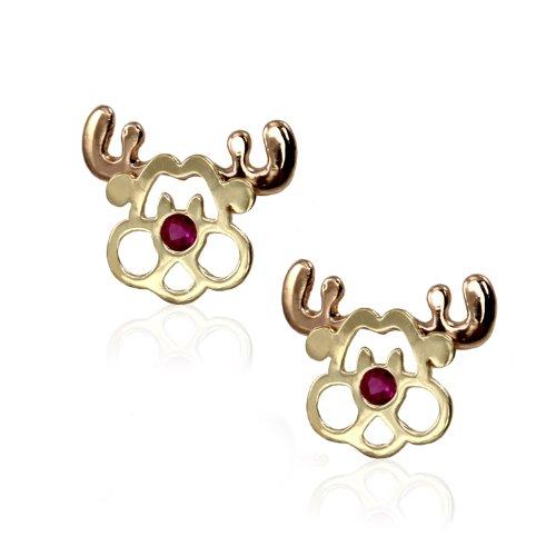 14k Yellow Gold Rudolph CZ Stud Earring