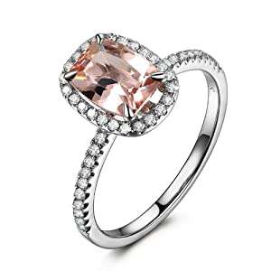 Claw Prongs Solid 14K White Gold Cushion Cut 6x8mm Morganite (Fancy Pink,VS) 0.27ctw Pave Diamonds Engagement Wedding Ring