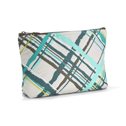 Thirty One Medium Thermal Zipper Pouch in Sea Plaid - No Monogram - 4363