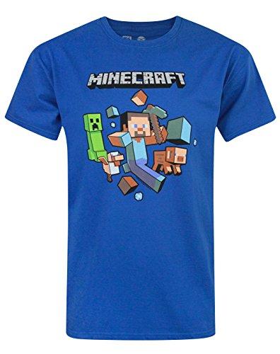 Hombres-Minecraft-Minecraft-Camiseta-Blue-Medium