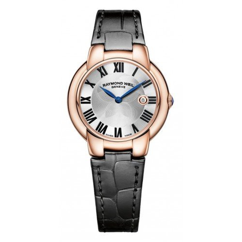 Raymond Weil Jasmine Silver Dial Black Leather Ladies Watch 5229-PC5-01659