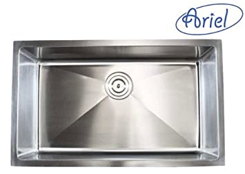 ARIEL - 36 Inch Stainless Steel Undermount Single Bowl Kitchen Sink 15mm Radius Design