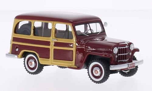 Jeep Willys Station Wagon, dark red/wood optics, 1954, Model Car, Ready-made, Neo 1:43