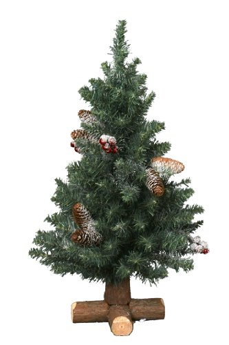 Kaemingk 683507 Frosted Sherwood Mini Baum mit Holzfuß, Soft Nadel PVC, innen, Höhe 75 cm thumbnail
