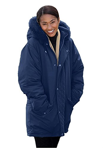 Women's Plus Size Coat, Microfiber Down/Feather Blend Parka Black,1X