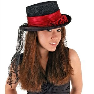 Gothic Rose Top Hat Costume Accessory