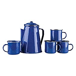 Stansport Enamel 8 Cup Percolator Coffee Pot with 4 Mug Set made by Stansport
