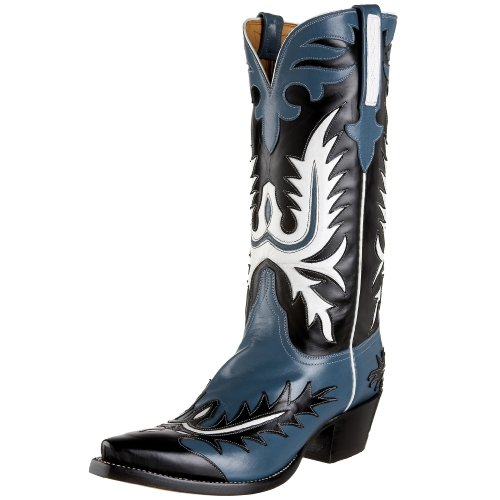 Lucchese Classics Men's GB9274 5/4 Western Boot,Jeans Blue/Black,8 D(M)US
