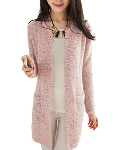 Minetom Donna Knit Cardigan Maniche Lunghe Jumper Outwear Maglia Jacket Sweatshirt Tops con Tasca Pink IT 40