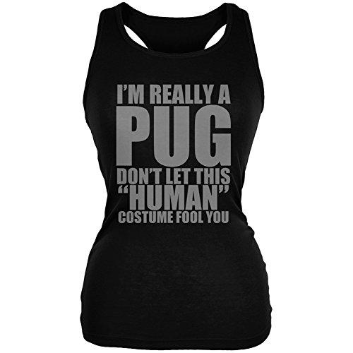 [Halloween Human Pug Costume Black Juniors Soft Tank Top - Small] (Thug Life Halloween Costumes)