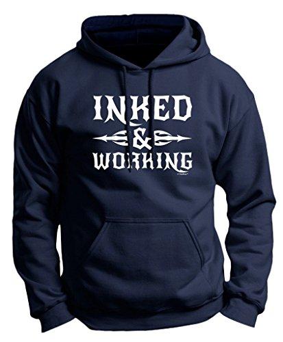 Inked and Working Tattooed Premium Hoodie Sweatshirt Large Navy