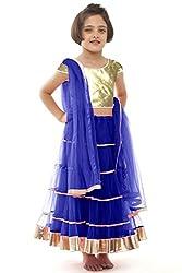 Beautifull Small Girl's Blue Lehenga Choli With Dupatta (8-10 Years) Presenting by Sixsense Retailers